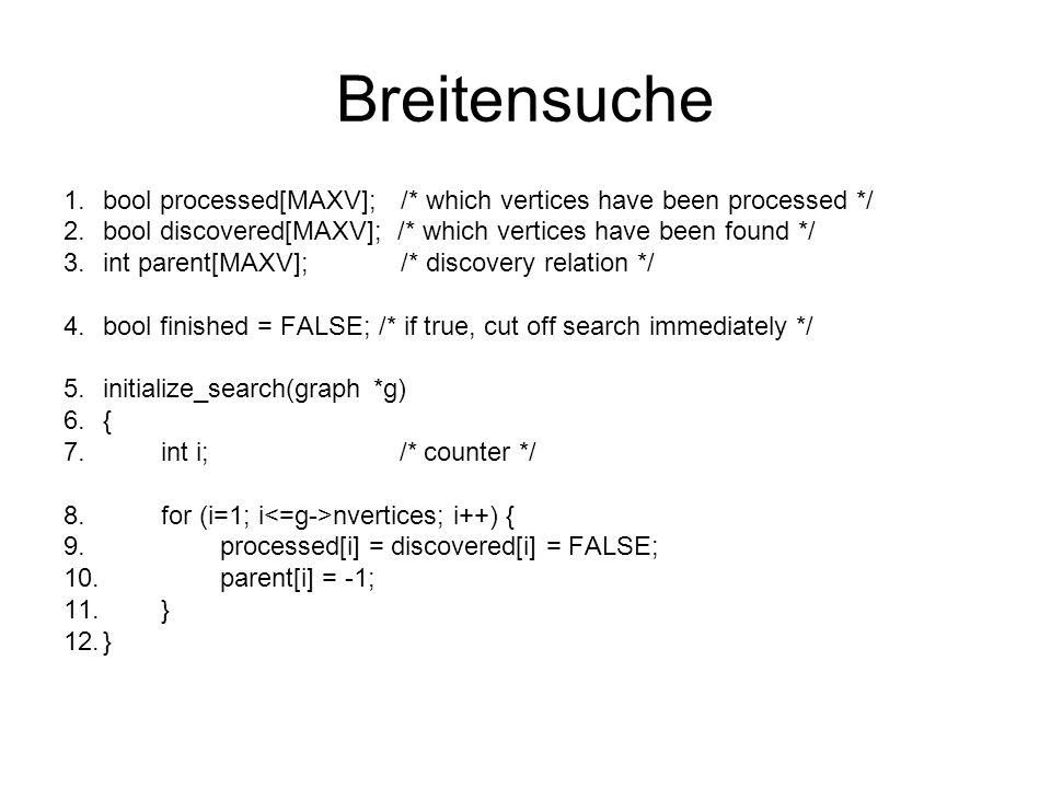 Breitensuche bool processed[MAXV]; /* which vertices have been processed */ bool discovered[MAXV]; /* which vertices have been found */